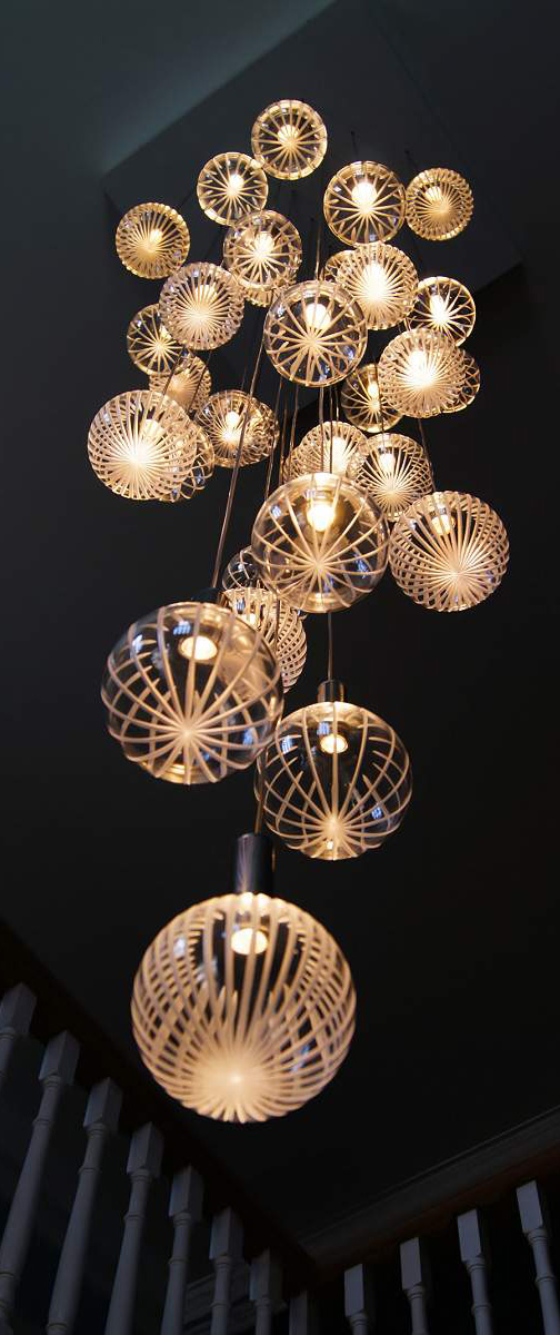 Contemporary LED Glass Chandeliers