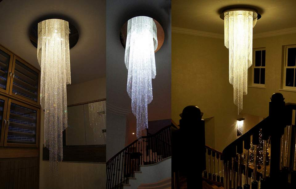 Contemporary Crystal 'Spiral' Chandeliers