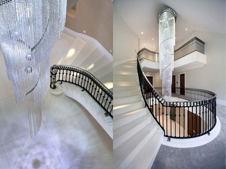 Contemporary Crystal 'Swoosh' Chandeliers